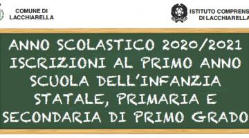 ANNO SCOLASTICO 2020/2021 – ISCRIZIONI AL PRIMO ANNO SCUOLA DELL'INFANZIA STATALE, PRIMARIA E SECONDARIA DI PRIMO GRADO